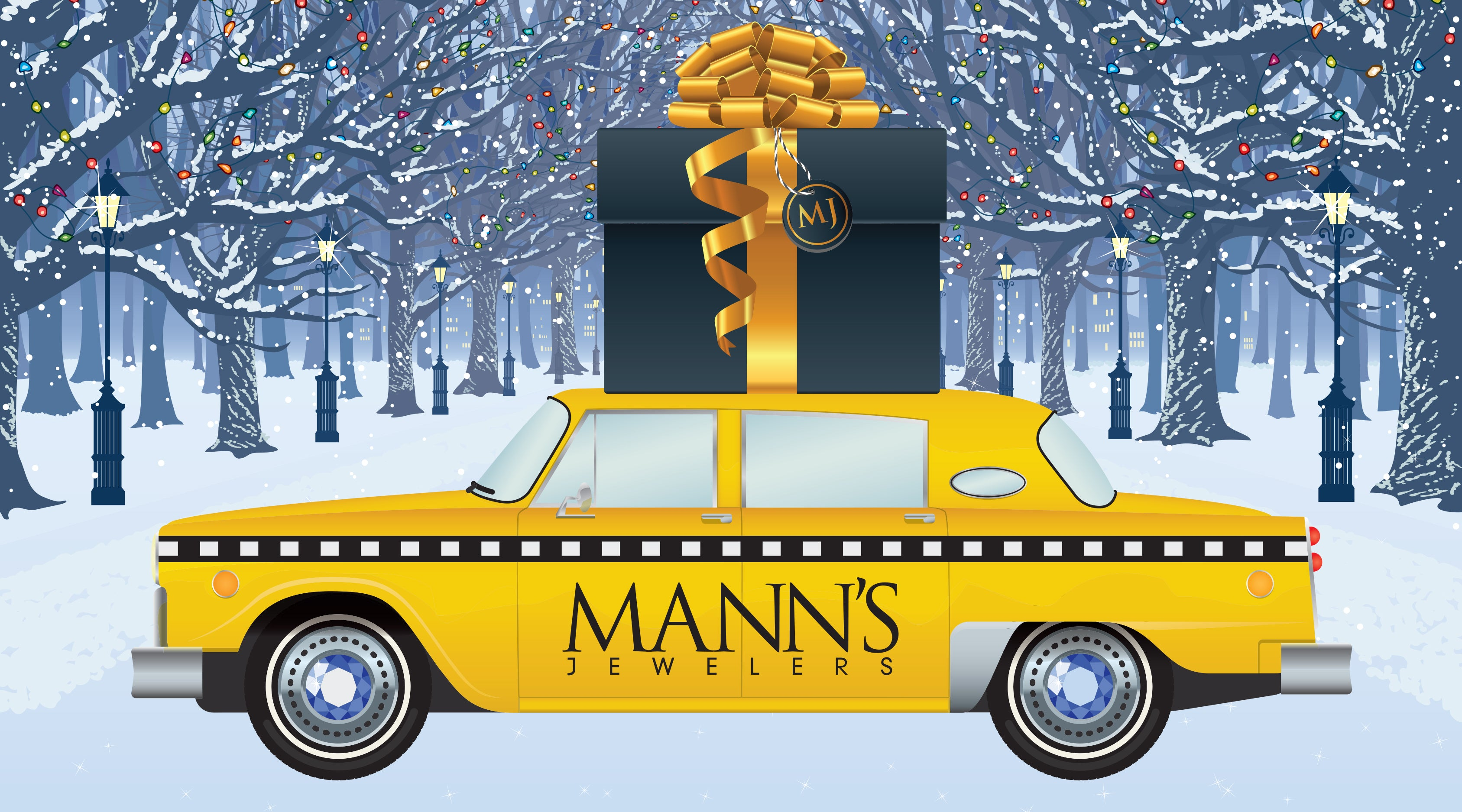 Mann's Jewelers Holiday Postcard with yellow cab