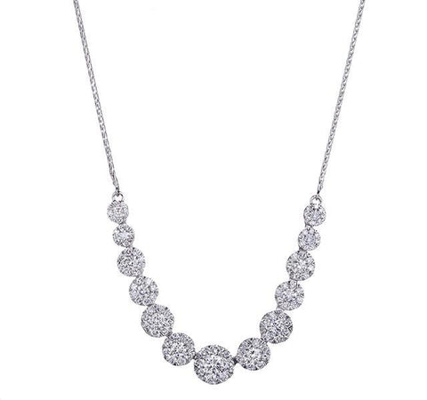 Graduated Diamond Cluster Necklace in White Gold