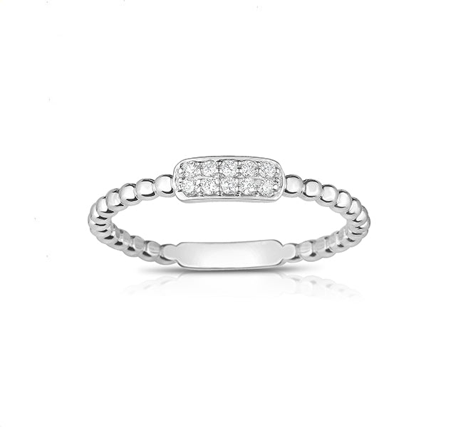Beaded Diamond Ring in White Gold
