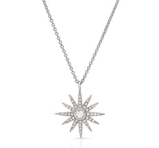 Diaomond Starburst Pendant in White Gold