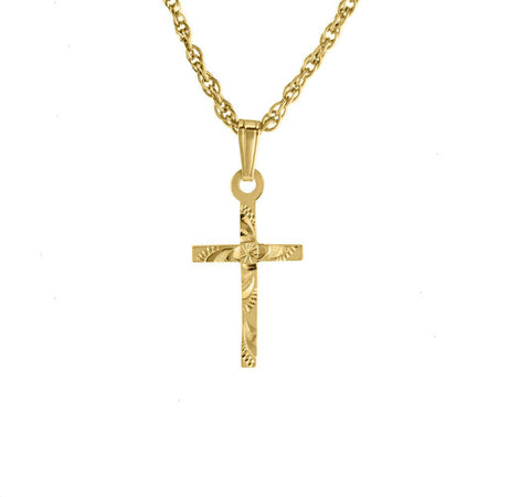 Flat Engraved Baby Cross in Gold