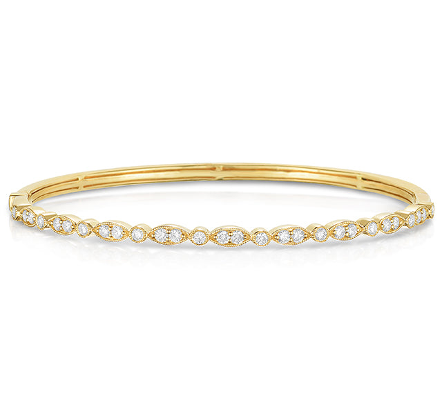 Diamond Bangle Bracelet in Yellow Gold