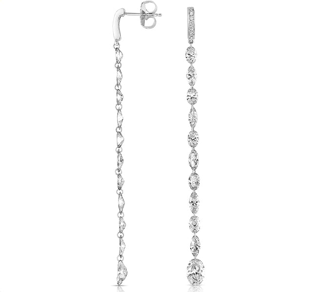 Oval And Marquise Diamond Dangle Earrings