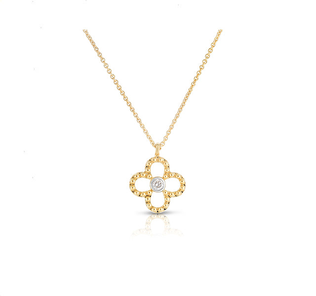 Floral Diamond Necklace in Yellow Gold