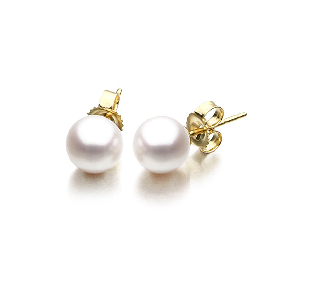 Akoya Pearl Stud Earrings In 14k Yellow Gold