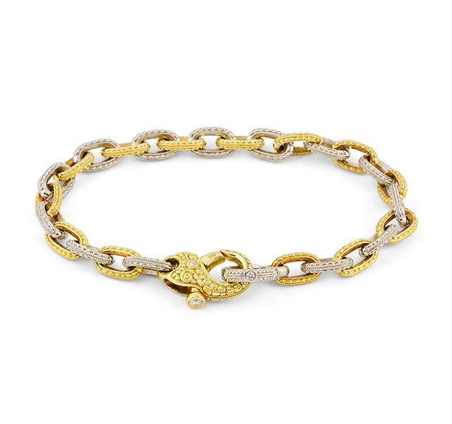 18k Gold And Platinum Milgrain Chain Link Bracelet With Diamonds