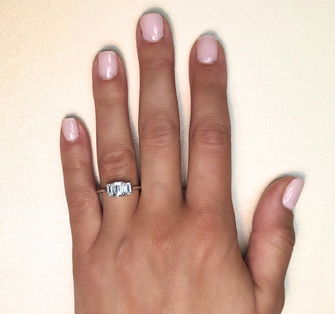 Three Stone Emerald Cut Setting