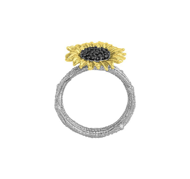 Vincent 15mm Ring With Black Diamonds In Sterling Silver & 18k Yellow Gold