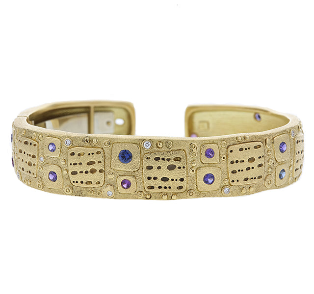 Notes Purple And Blue Sapphire and Diamond Cuff