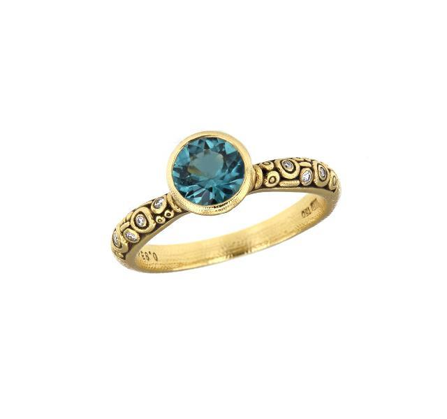Blue Green Tourmaline and Diamond Martini Ring