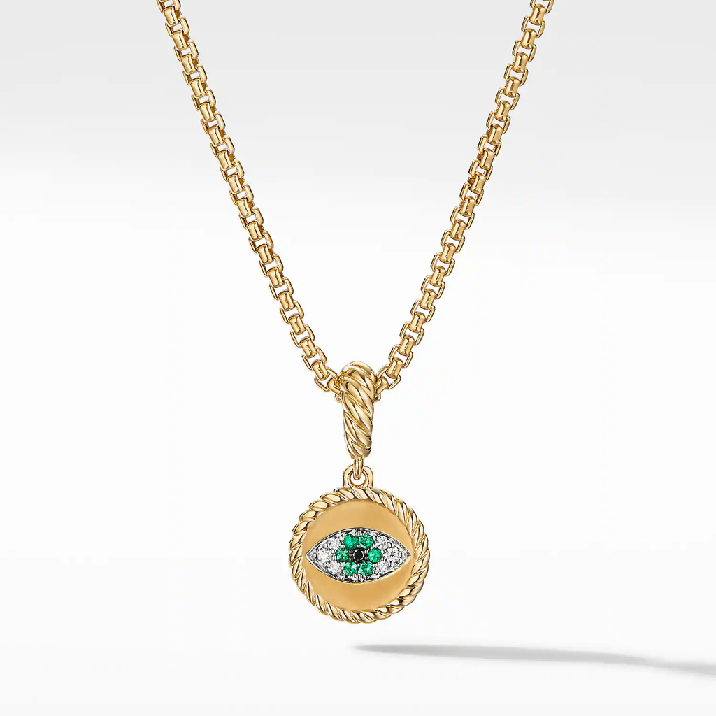 Evil Eye Amulet in 18K Yellow Gold with Pavé Emeralds and Diamonds