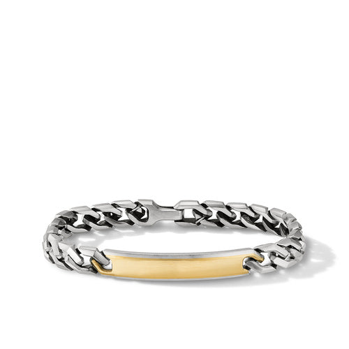 Curb Chain Link ID Bracelet with 18K Yellow Gold