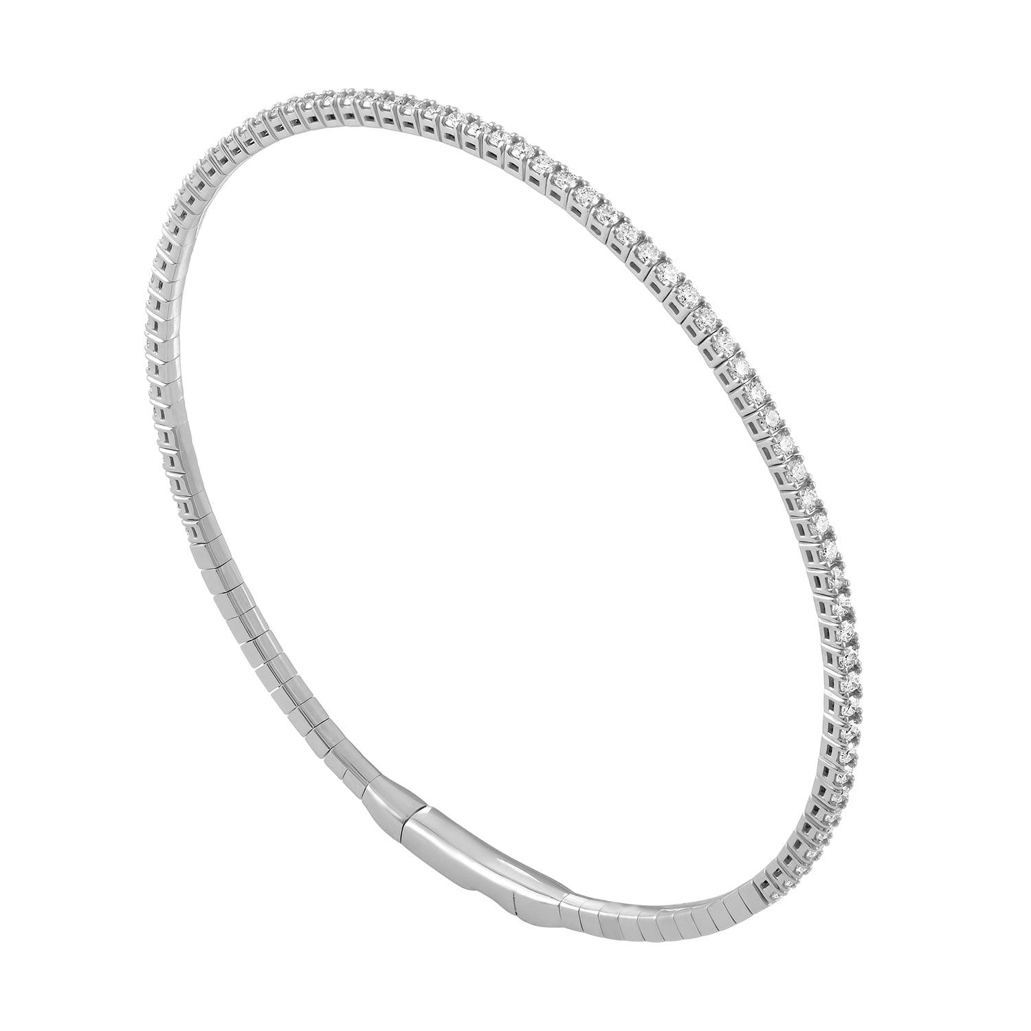 Flexible Diamond Bangle in White Gold