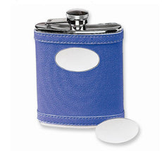 Indigo Leather Flask