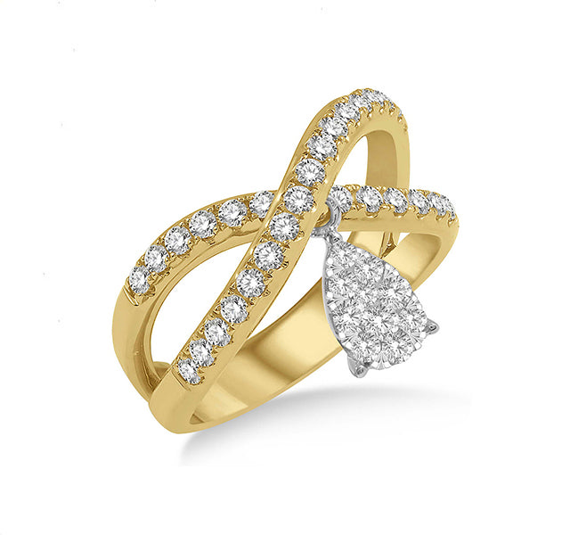 Diamond Crossover Ring In Yellow Gold