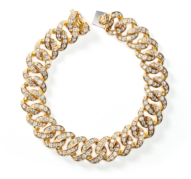 Curb Link Bracelet with Diamonds in Gold