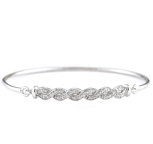 Diamond Crossover Bangle in Sterling Silver