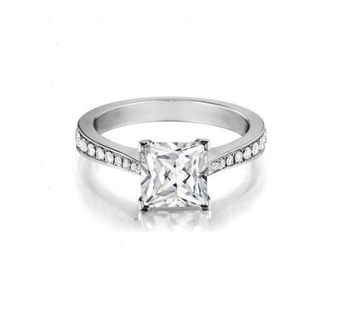 Beadset Engagement Ring Setting for Princess Cut