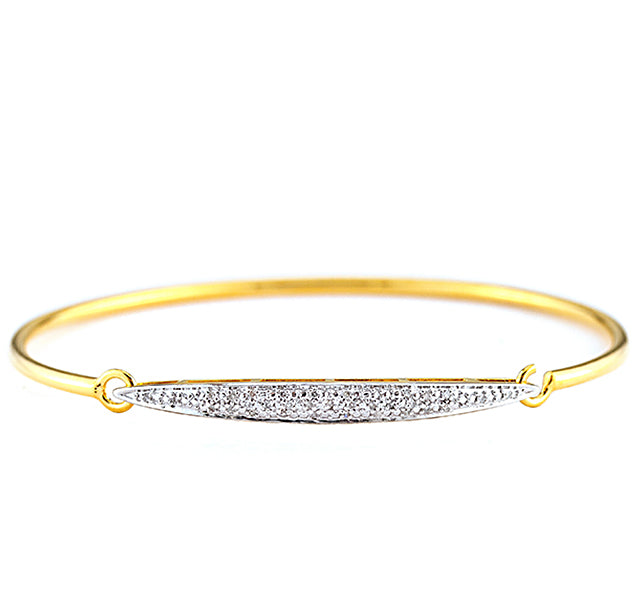 Bangle Bracelet with Diamonds in Gold Plated Sterling Silver