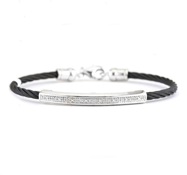 Diamond Bar Bracelet in Black