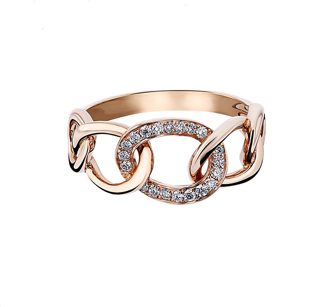 Diamond Chain Link Ring in Rose Gold