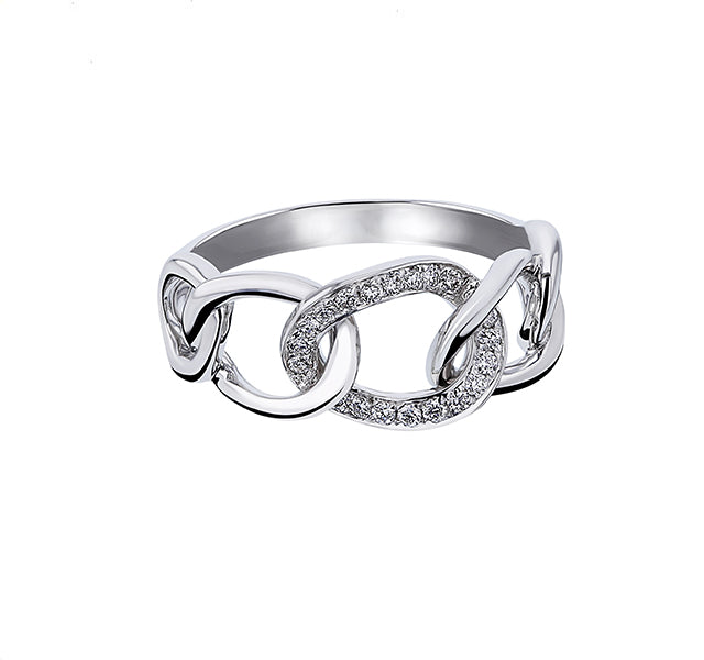 Diamond Chain Link Ring in White Gold