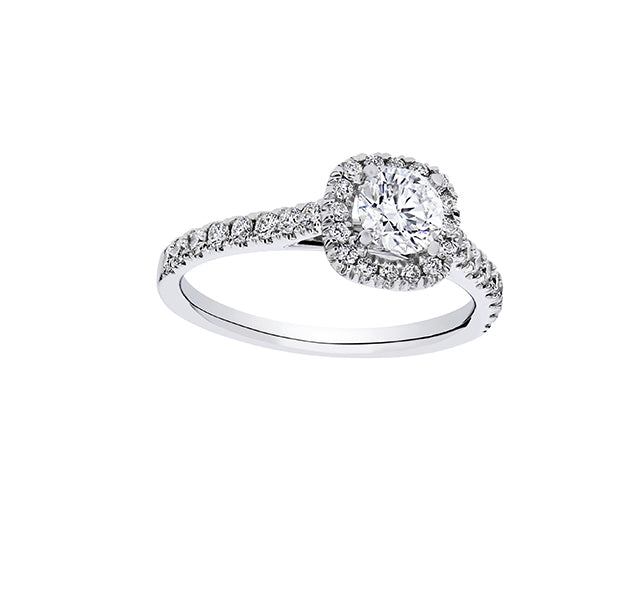 Round Cut Diamond in Cushion Halo Engagement Ring 1ct