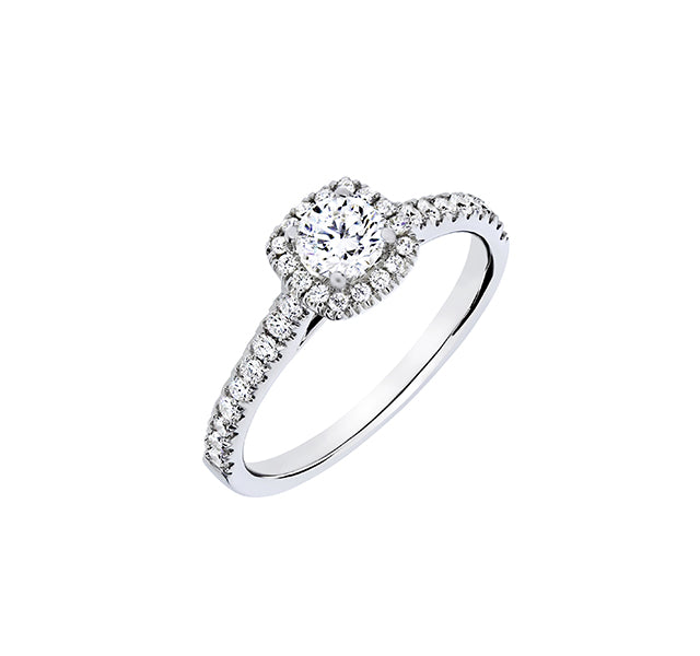 Round Cut Diamond in Cushion Halo Engagement Ring .75ct