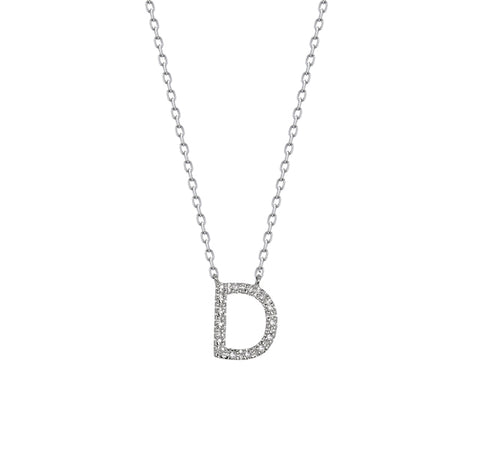 "Diamond Letter ""D"" Necklace in Sterling Silver"