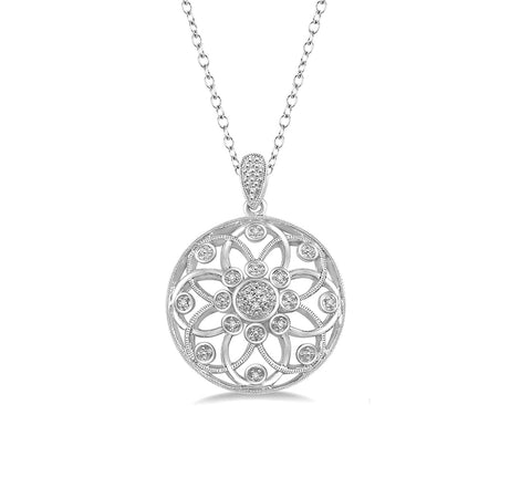 Floral Diamond Pendant in Sterling Silver