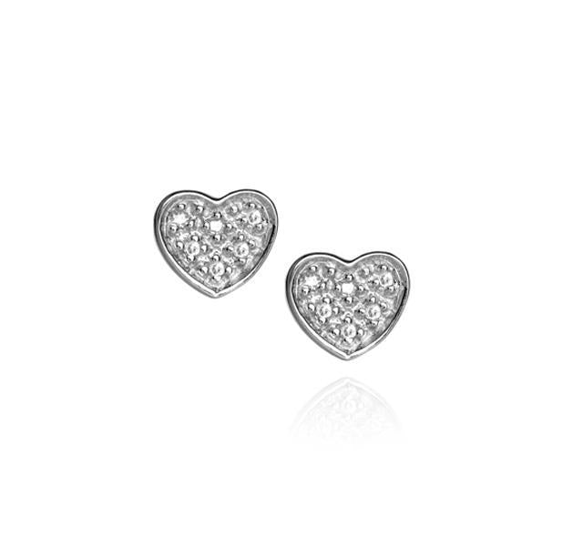 Pavé Heart Stud Earrings in Sterling Silver