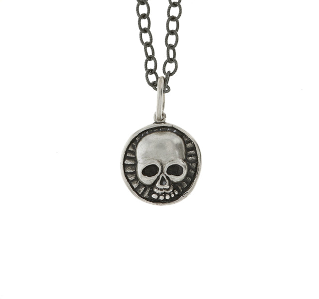 Silver Skull and Cross Charm