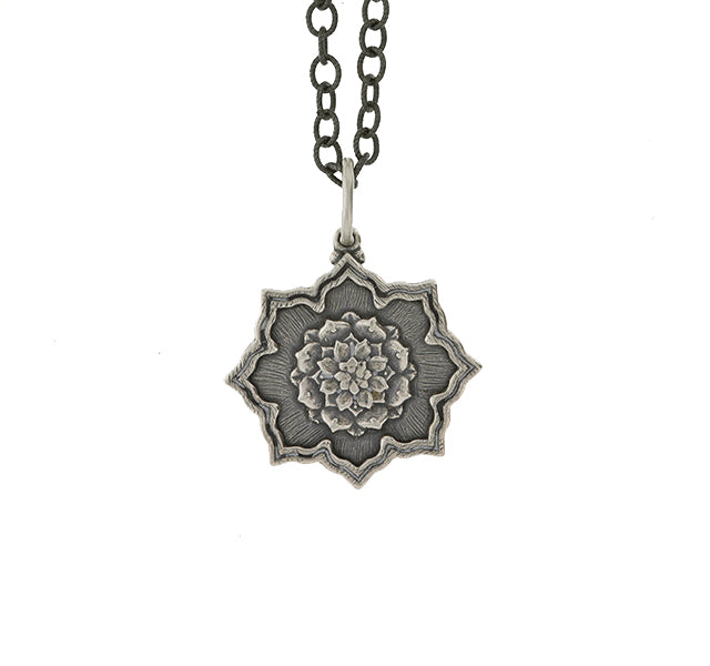 Silver Multi Layer Lotus Charm