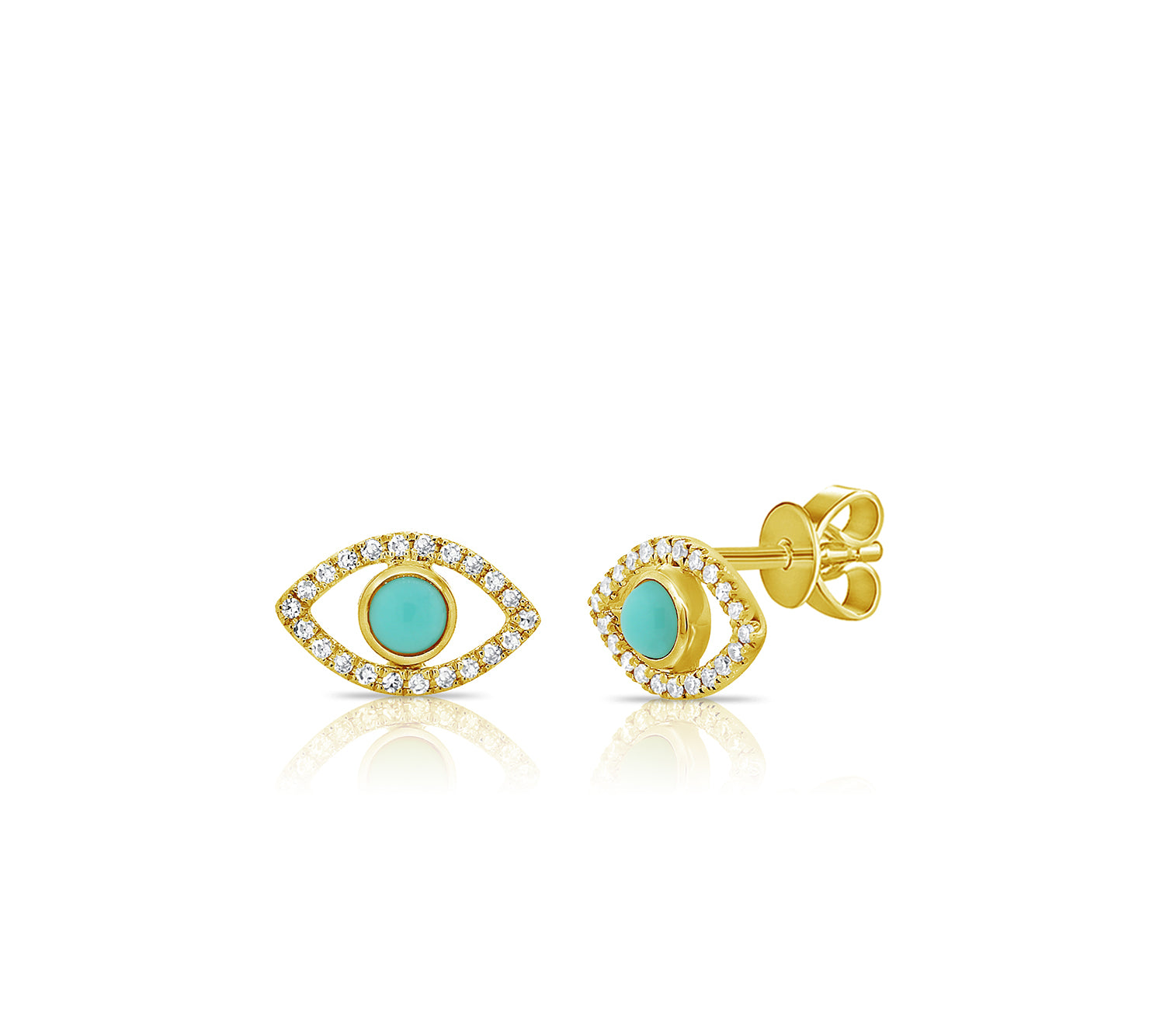 Evil Eye Stud Earrings in Gold