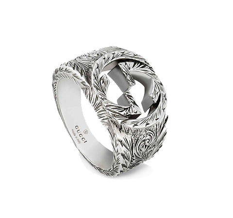 Interlocking G Men's Ring in Sterling Silver