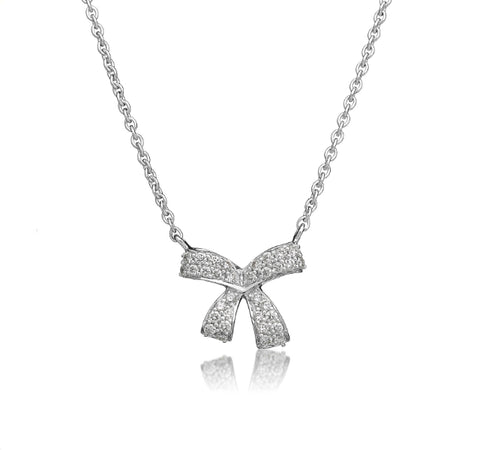 Romance Diamond Bow Necklace in White