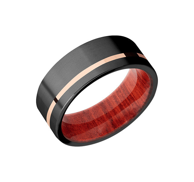 Zirconium Band With 14k Rose Gold Inlay And Red Heart Sleeve