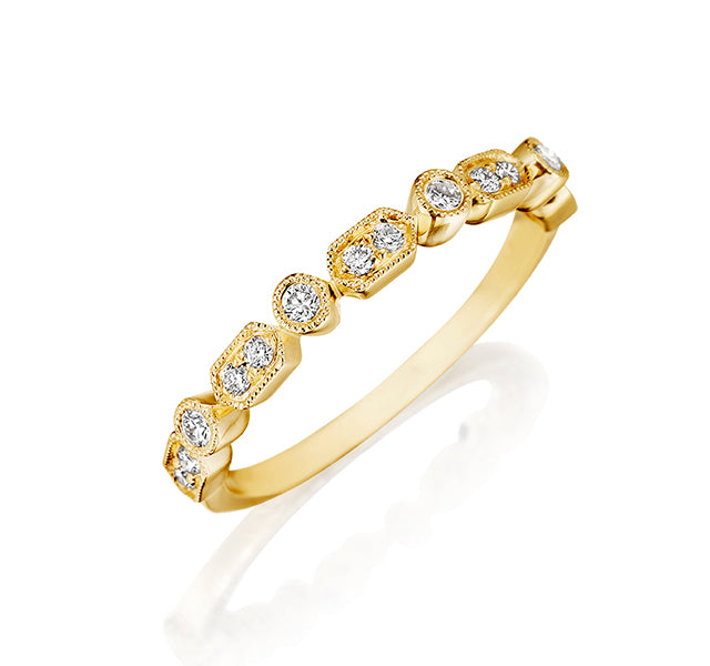 Vintage Inspired Diamond Band in Yellow Gold