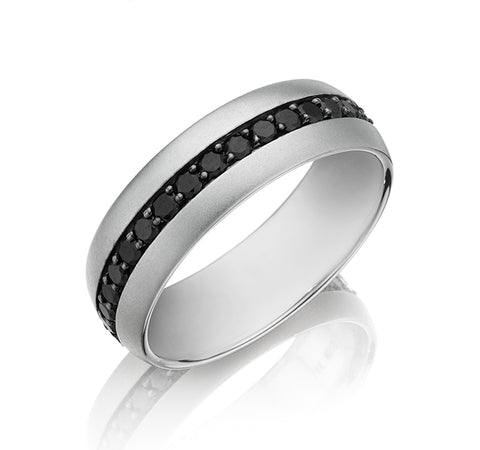Satin Finish Band with Eternity Black Diamonds