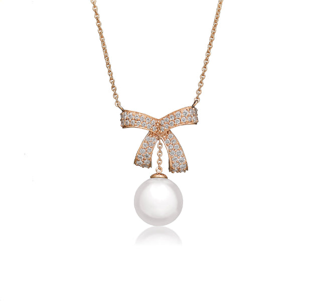 Romance Diamond Bow and Pearl Necklace