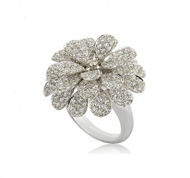 Secret Garden Ring with Diamonds in White