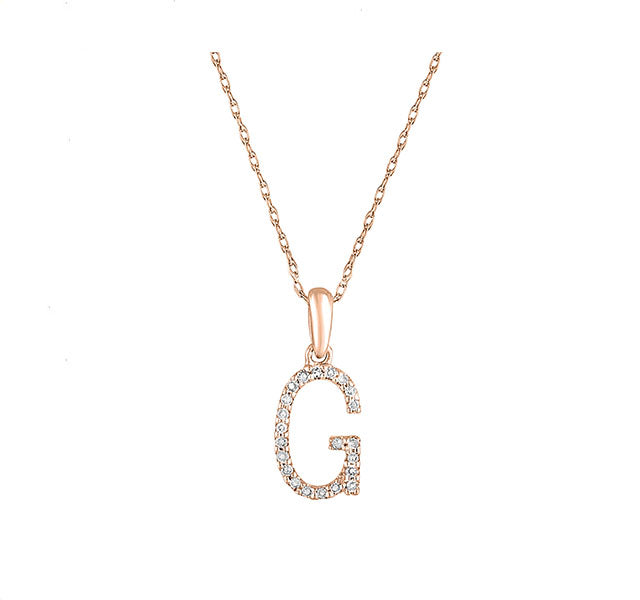 Diamond Initial G Necklace in Rose Gold