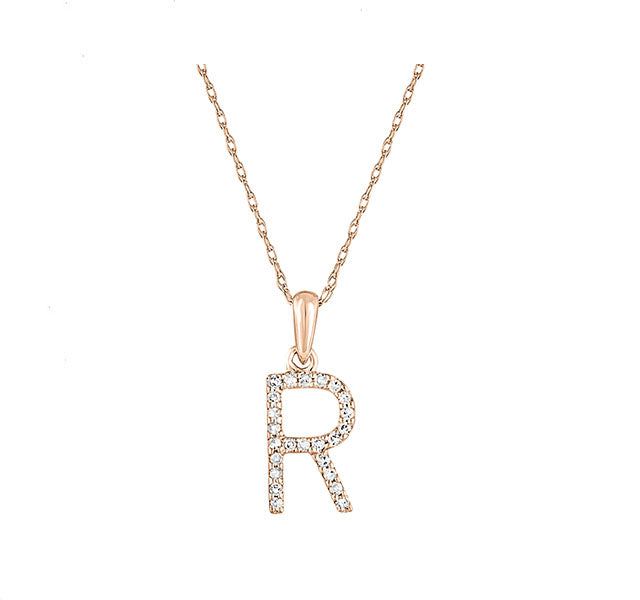 Diamond Initial R Necklace in Rose Gold