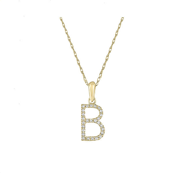 Diamond Initial B Necklace in Yellow Gold
