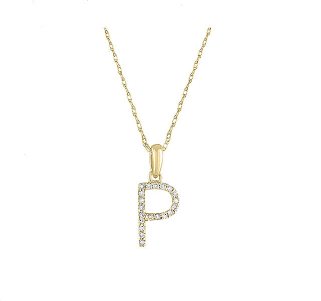 Diamond Initial P Necklace in Yellow Gold