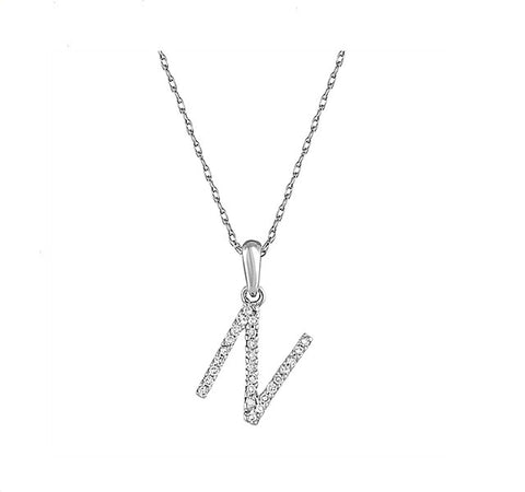 Diamond Initial N Necklace in White Gold