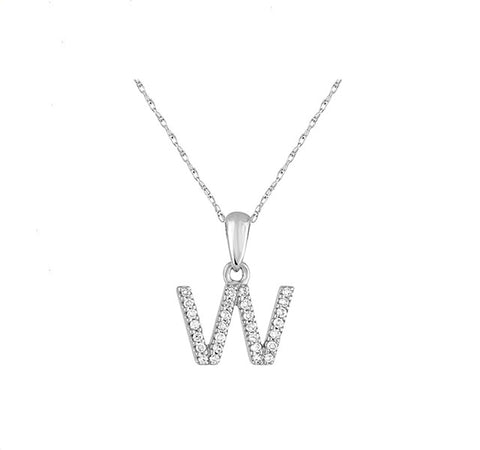 Diamond Initial W Necklace in White Gold