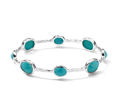 Silver 8-Stone Bangle in Turquoise