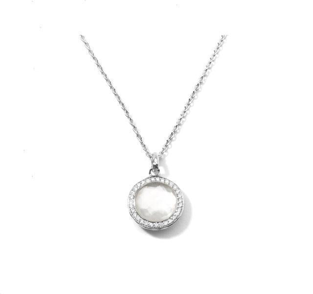 Lollipop Pendant in Mother-of-Pearl with Diamond Frame