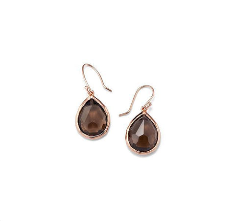 Rosé Rock Candy Teardrop Earrings in Smoky Quartz